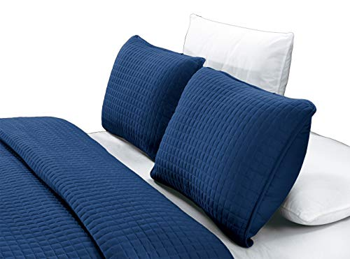 GrandLinen 3-Piece Bedding Florence Quilt Set Solid Navy Blue Queen/Full Size 90