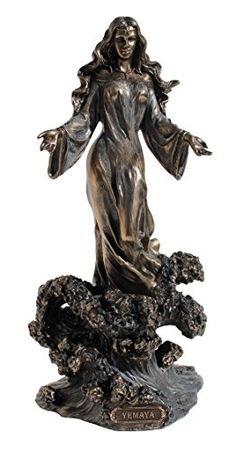 Yemaya Standing On Ocean Wave, Cold Cast Bronze, Figurine 11 Inch High