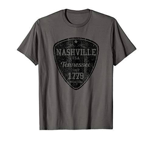Nashville T-Shirt Country Music City Guitar Pick Tee Gift