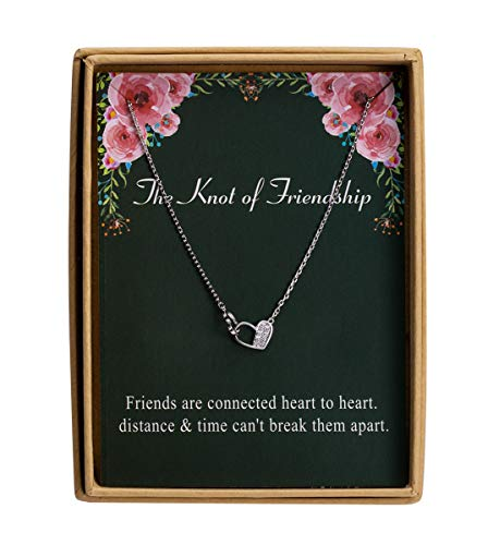- 925 Sterling Silver Dainty Knot of Friendship Double Heart Necklace Gift for Friends