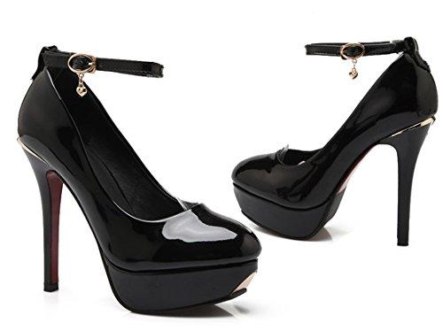 YE Damen High Heels Plateau Geschlossene Runde Zehe 12cm Absatz Lackleder Mary Janes Pumps Schuhe mit Schleife Schwarz