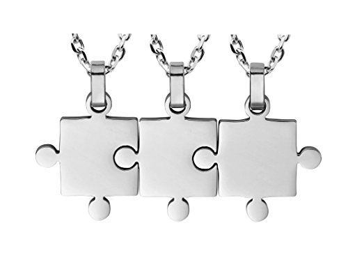Best Friends Gifts 3 Piece Puzzle Necklace Friendship - Women Men Stainless Steel Pendant Silver Tone Jewelry