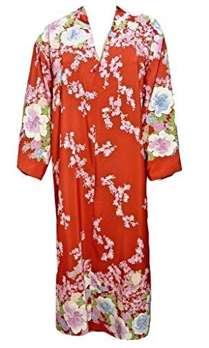 Cruz Natori Long Caftan Robe Red Floral Partial Zip Closure Charmeuse, Large