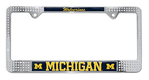 - Elektroplate University of Michigan Wolverines Crystal Metal License Plate Frame