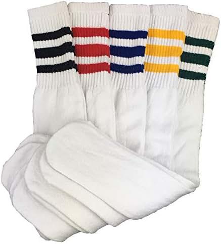 Mens Classic Striped Sports Tube Socks - White Tube Socks Long Big and Tall