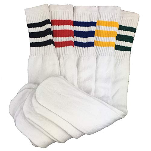 Cotton Striped Sport Socks - Mens 5 Pair Classic Multi Striped Sports Tube Socks,Sock Size 10-15 - 24