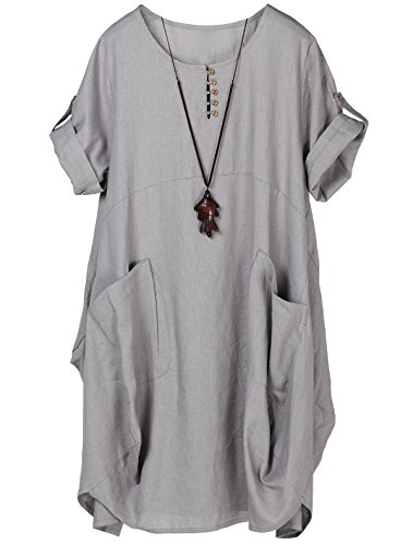 Minibee Women's Ruffle Loose Casual Midi Dresses with Pockets (M, Gray) by Minibee