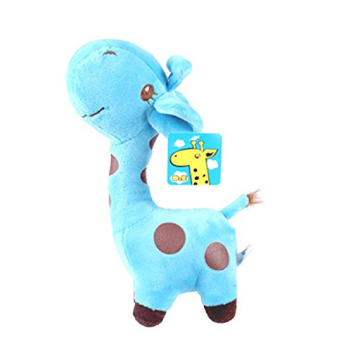 Stuffed Toy Plush 7' (Axixi Baby Plush Stuffed Cute Soft Giraffe Cerf Zoo Animals With Sucker Giraffe Toy Children Doll Birthday Gift (18CM/7'', Blue))
