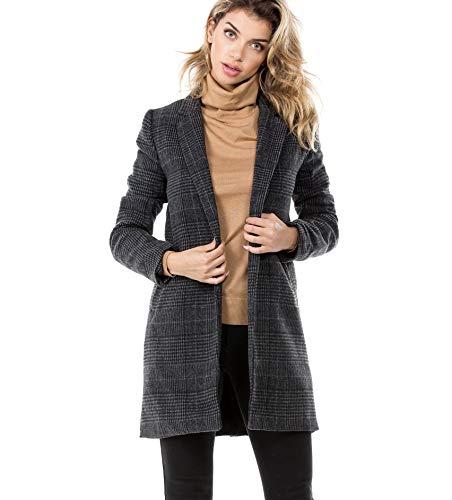 Women's Plaid Blazer Jacket, Small, Charcoal ()