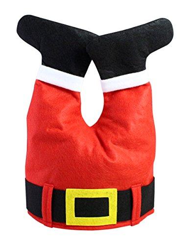 Adorable Fabric Christmas Headwear / Hat with Santa Claus Pants Design, (Funny Santa Hat)
