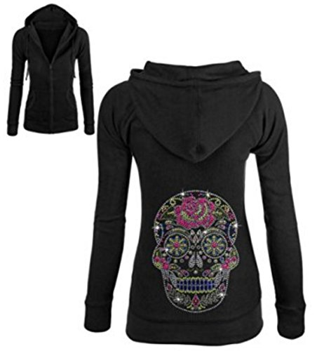 Sugar Skull Rhinestone Zipper Hoodie Black S-XL Juniors (S (Juniors0, Black) -