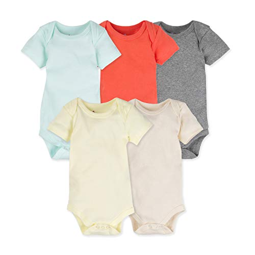 MiracleWear Solid Color Baby 5-pack Bodysuits Daywear for Boy, Girl & Neutral Unisex (Color, 3-6 Months)