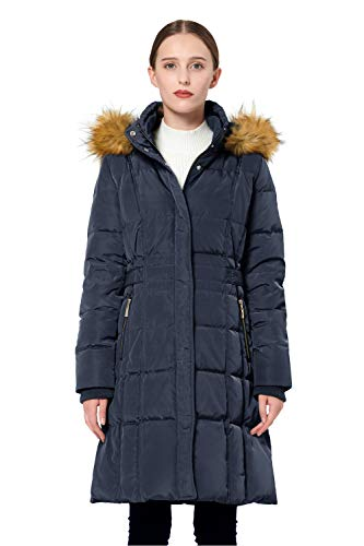 Orolay Women's Puffer Down Coat Winter Jacket with Faux Fur Trim Hood YRF8020Q Navy L ()
