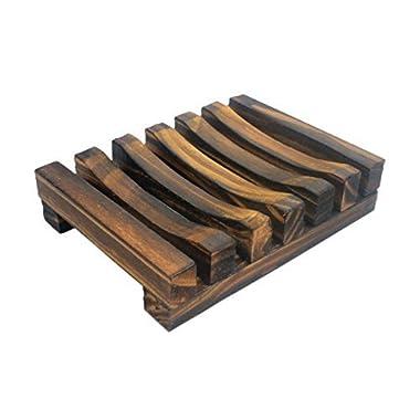 Dark Brown Hawaii Style Bathroom Sink Deck Soap Holder Wooden Soap Dish Rectangular Hand Craft Natural Soap Holder
