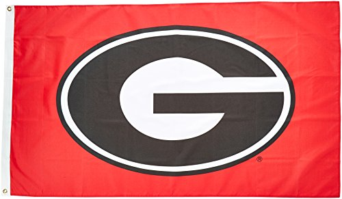 Bulldogs Georgia Clock (NCAA Georgia Bulldogs 3-by-5 Foot Flag G Logo with Red Background with Grommets)