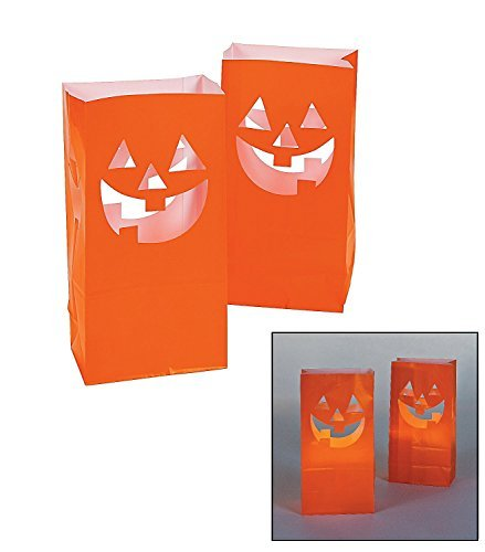 Fun Express Jack-O'-Lantern Silhouette Luminary Paper Bags | 36 Count | Great for Party Decoration, Prizes, and Favors -