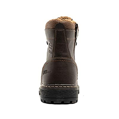 Hengdali Men's Leather Classic Waterproof Hiking Mountain Climbing Construction Performance Work Boots: Shoes