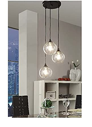 Beau Uptown 3 Light Glass Modern Clear Globe Cluster Pendant