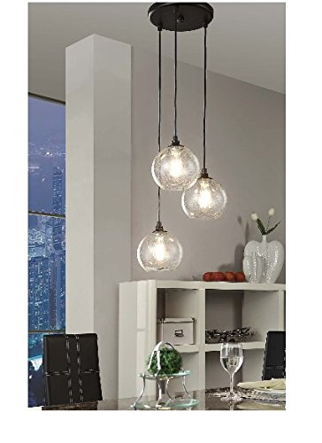 Uptown 3-light Glass Modern Clear Globe Cluster Pendant (Modern Clear Glass)
