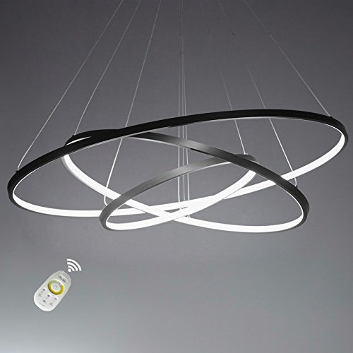 Ring Pendant Light - LightInTheBox Dimmable 90W Pendant Light Modern Design LED Three Rings Chandeliers Black Color Voltage=110-120V with Remote Control
