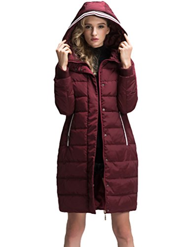 Mordenmiss Women's Long Sleeve Thicken Warm Winter Hooded Down Jacket Coat Style 4-M-Burgundy B-3-A6-1 by Mordenmiss (Image #1)