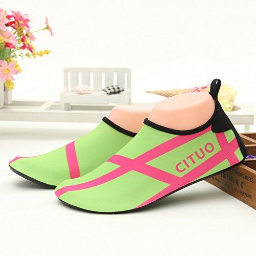 SENFI Wasserschuhe athletische Aqua-Socke für Wasser-Sport-Strand-Pool-Boot C.grün