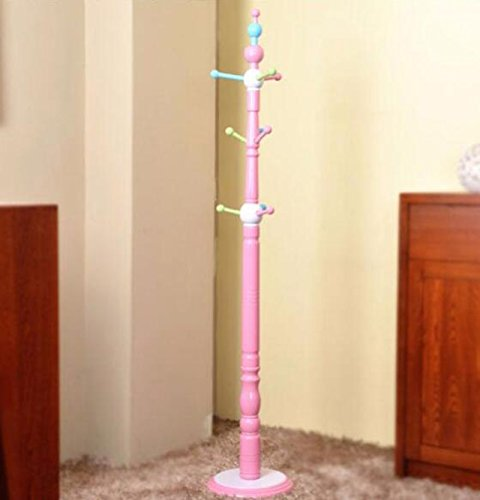 Children's Solid Wooden Coat Rack / Teen Bedroom Hanging Hanger Floor / Fashionable Hanger / Coat Rack / Safety & Environment Pink Blue Coat Rack (33 177cm) ( Color : Pink ) by Clothes hat shelf (Image #3)