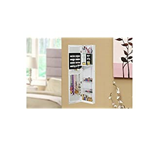 BTExpert Jewelry Armoire Cosmetic Makeup Cabinet Organizer Table Mirror Over The Door Wall Mount, White