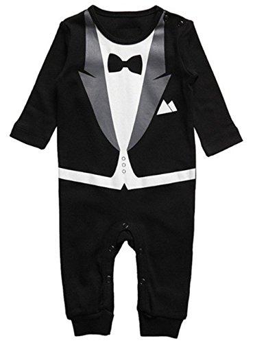 LJYH Baby Boy Romper Tuxedo Jumpsuit Gentleman One-piece Romper Bowtie Bodysuit Black (US2-3yrs/asian95)