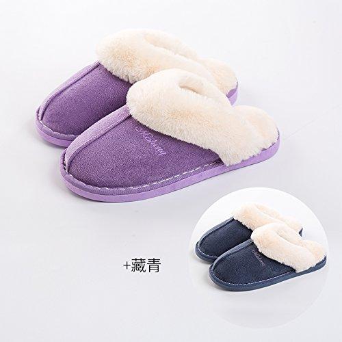 DogHaccd pantofole,Il cotone pantofole donne eleganti fondo spesso giovane inverno caldo al coperto le donne in stato di gravidanza non-slip home uomini semplice home scarpe, viola + navy, femmina 37-