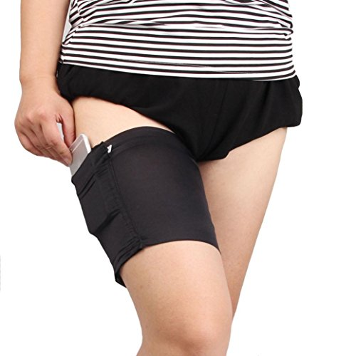 Lywey 2PCS Of Outdoor Sports Non-Slip Thigh With Anti-Friction Breathable bands Anti Chafing Pocket Mobile Phone Ladies Card Bag (Black, Large) (Flask Thigh Strap)