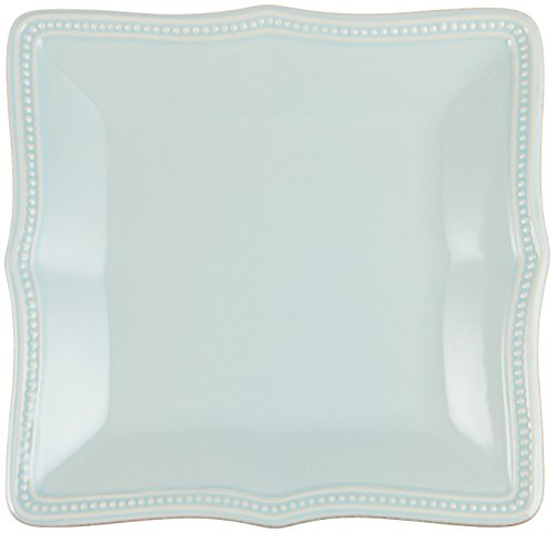 Lenox French Perle Bead Square Dinner Plate, Ice (Lenox Blue Plate)
