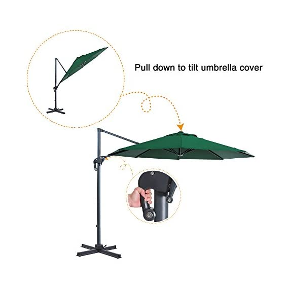 FurniTure Hanging Umbrella 10' Patio Umbrella Outdoor Cantilever Umbrella 360 Rotation Garden Umbrella 8 Steels Ribs Polyester Cross Base, Hunter Green - NEW RELEASE: Hanging umbrella with four lock position on the pole for you to easily adjust your umbrella angle. NEW DESIGN: Cantilever umbrella with 360 degree rotation by step on the foot pedal. DURABLE FRAME: 10 ft patio umbrella is built with stainless steel against rust, corrosion, chipping and peeling. - shades-parasols, patio-furniture, patio - 41uyhyAqcaL. SS570  -
