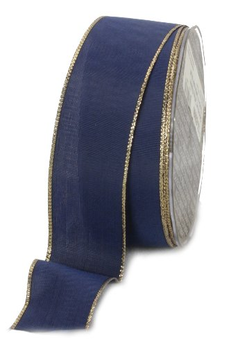 Ampelco Ribbon Company Gold Wired 27-Yard Taffeta Ribbon, 1.5-Inch, Navy Blue