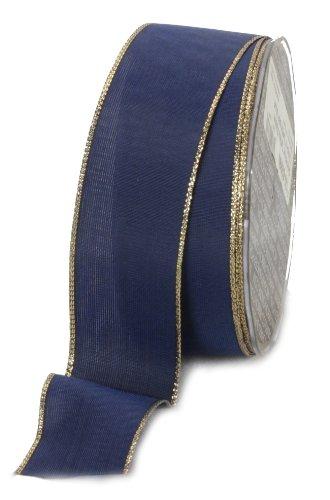 Ampelco Ribbon Company Gold Wired 27-Yard Taffeta Ribbon, 1.5-Inch, Navy Blue