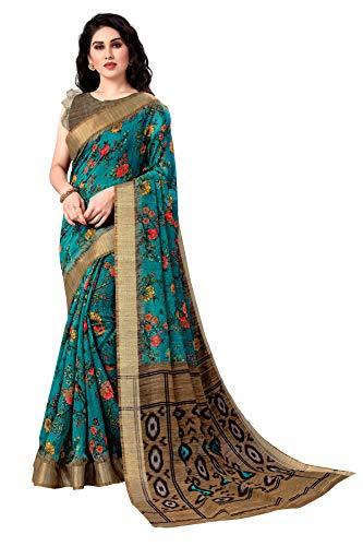 Mirchi Fashion Fancy Saree met bloemenprint voor dames, met zari geweven rand en niet-gestikte blouse