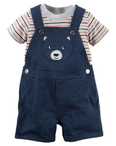 Embroidered Shortalls (Carter's Boy Striped Tee & Embroidered Bear Shortalls Set; Navy (12M))