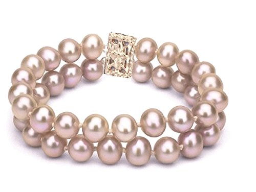 Cultured Freshwater Pearl Double Strand Bracelet with Gold Filled Clasp (Pink)
