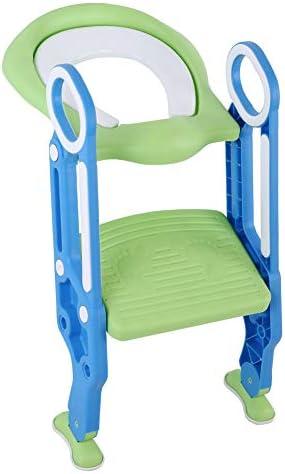 Asiento de inodoro Plegable Niños, ajustable Plegable Universal Asiento con escala Servicios higiénicos aseo Trainer Niños orinal para bebés blu + verde: Amazon.es: Bebé