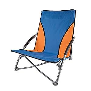 Gentil Stansport Low Profile Fold Up Chair, Blue/Orange