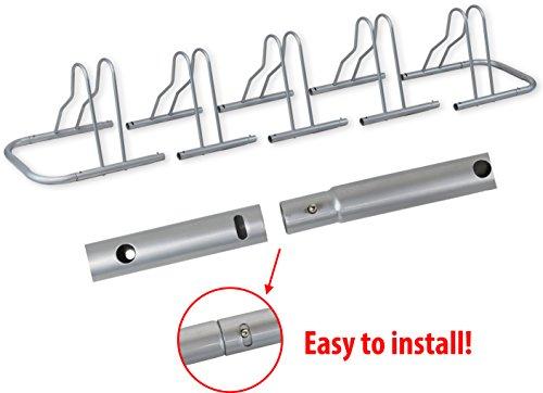 Simple Houseware 5 Bike Bicycle Floor Parking Adjustable Storage Stand, Silver by Simple Houseware (Image #3)