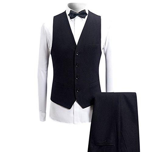 Nero Collo Cerimonia 1 Vestibilità Abito Con Giacca Slim Smoking Nero Nuziale Da Uomo Pantaloni Sciallato E Gilet Casual Bottone Pezzi Bavero 3 Giacca tw6qpw