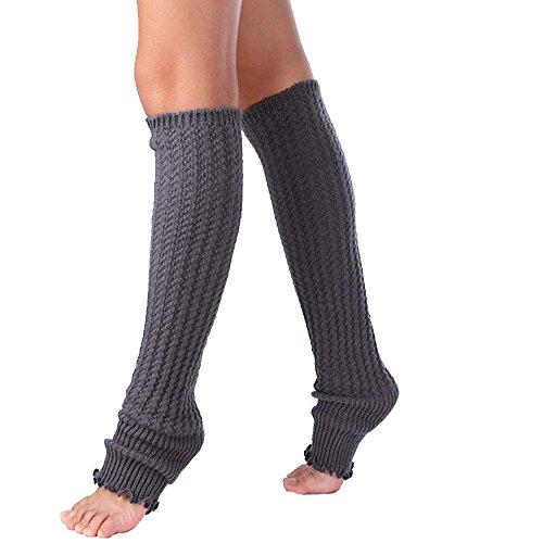 YJYdada Womens Leg Warmers Lace Patchwork Leggings Socks (Dark Grey)