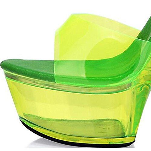 Verde Alti Fibbia Open Scarpe Donne Cinghia Sandali Modello Delle Luminosi Toe Impermeabile Talloni Piattaforma Della Degli ZqXTAq