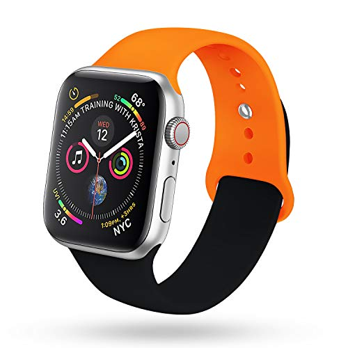 for Black Apple Watch Band 38mm 40mm Series 4 Pack, Soft Silicone Sport Strap Compatible with iWatch Series 4, Series 3/2/1, Nike+,Sport,Edition (Black - Orange)