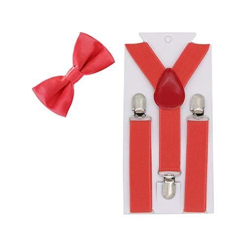 boys Suspenders Bow Ties Elastic Adjustable Y-Back Braces For Wedding Party Bowtie Bow Tie Suspenders,35 Watermelon Red (Watermelon Bow Tie)
