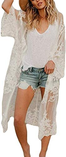 Womens Embroidered White lace Cardigan Lace Kimono Open Front Half Sleeved Swimsuit Cover ups (2052, White)