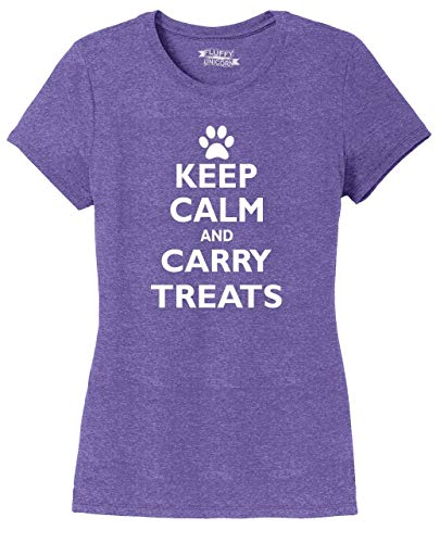 Ladies Tri-Blend Tee Keep Calm and Carry Treats Cute Dog Trainer Gift Purple Frost L