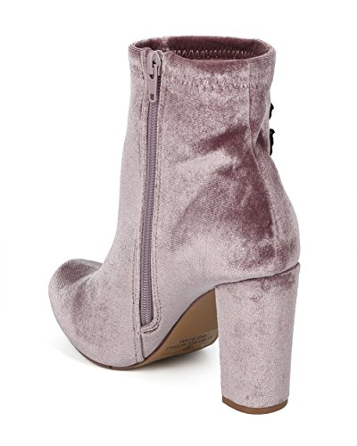Collection Valvet Women HG16 Liliana Taupe Embroidered Bootie Chunky Alrisco Patch Heel by Velvet Rose PnfO4Z