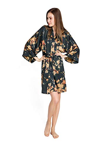 Kim + ONO Women's Kimono Robe Short - Watercolor Floral (Tamiko- Black)